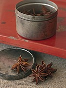 Chinese star anise in rustic container