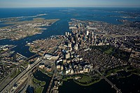 Aerial view, MA 3000 ft, Charles River bottom, Zakim Bridge left, Boston, Massachusetts, USA