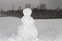 Snow man in Central Park during snow storm