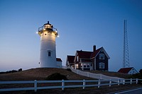 Nobska lighthouse, 1876 evening, Woods Hole, Cape Cod, MA