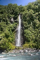 One of countless waterfalls in southwest New Zealand, a World Heritage Site.