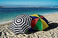 Umbrellas on the beach in Troia, Portugal