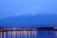Lake Kawaguchi with Mt. Fuji in background at dusk