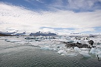 Iceland, icebergs in jokulsarlon lagoon drifting from vatnajokull glacier into the north atlantic ocean