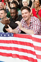 USA supporters with flag