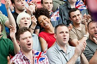 Great britain supporters with flags