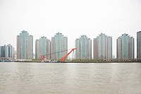 China, shanghai, apartment blocks and river