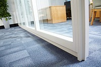 close up detail of upvc office partitioning