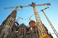 Construction work being done to the Gaudi La Sagrada Familia Barcelona Spain