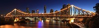 Panorama of Story Bridge, the Brisbane River and downtown Brisbane, Queensland, Australia