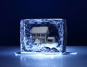 A rectangular shaped block of ice with a small model house frozen inside