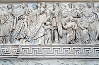 Processional frieze showing Augustus as high priest of Rome, accompanied by members of his family, Ara Pacis, Rome, Italy