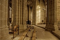 Detail of benches in a gothic cathedral.