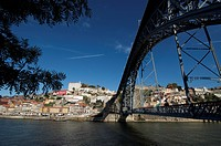 The Dom Luis Bridge crosses over the Douro River.