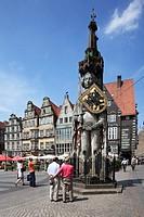 D-Bremen, Weser, Freie Hansestadt Bremen, market place, residential buildings, Roland statue, UNESCO World Heritage Site