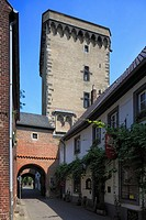 D-Dormagen, Rhine, Lower Rhine, North Rhine-Westphalia, D-Dormagen-Zons, Feste Zons, Middle Ages, Rhine Street, narrow street, Zoll Tower and Rhine To...