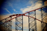 Big One roller coaster on Blackpool Pleasure Beach morning testing under stormy sky