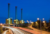 Vatenwall power plant with highway in the night, time exposure, Berlin, Germany
