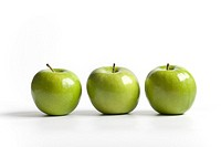 Three green shiny Granny Smith apples on a row