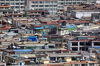 Elevated view of rooftops in Tibet´s capital.
