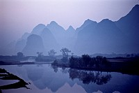 An early morning view of the Chinese country side in Southern China.