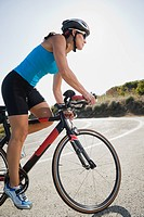 Cyclist road riding in Malibu