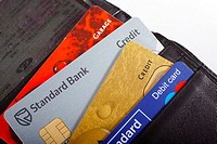 Credit and debit cards in a wallet