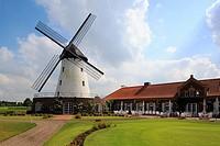 Germany, Krefeld, Rhine, Lower Rhine, North Rhine-Westphalia, D-Krefeld-Traar, Elfrath Mill, windmill, tower windmill, golf club, club house