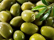 Fresh green queen olives.
