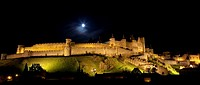 La Cite de Carcassonne by night. Carcassonne, France