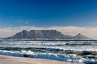 Table Mountain as seen from Bloubergstrand's beach, South Africa