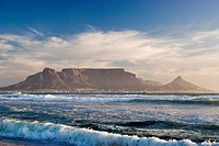 Table Mountain as seen from Bloubergstrand´s beach, South Africa