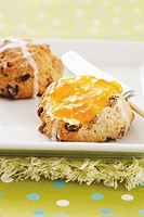 Hot cross scones with orange marmalade
