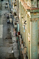 Crumbling old facades of local buildings, Havana, Cuba.