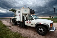 A Doppler on Wheels mobile radar truck parked in Kansas, May 6, 2010  The DOW truck is participating in Project Vortex 2, a two year science mission t...