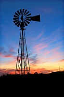 Windmill at Sunset - Harris County  Texas  Vintage water-pumping windmill at sunset  Shot near Houston, Texas