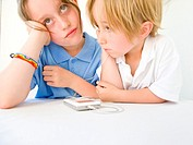 Boy and Girl Listening to Mp3 Player