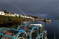 A rainbow over Roundstone harbour in Connemara