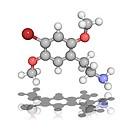 2C_B psychedelic drug, molecular model