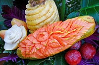 Carved papaya and pineapple  Thai style