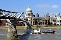 The London Millennium footbridge crossing the River Thames, St Paul´s Cathedral, London. United Kingdom.