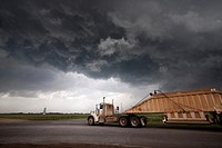 A semi truck lorry framed against the updraft base of a severe storm in Oklahoma, May 12, 2010