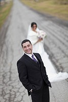 ontario, canada, a bride and groom standing on a road