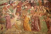 FRESCO, THE TRIUMPH OF DEATH, TRIONFO DELLA MORTE, CAMPOSANTO MONUMENTALE, MEDIEVAL CEMETERY CREATED IN 1278, CAMPO DEI MIRACOLI, PISA, TUSCANY, ITALY