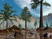 Prehistoric trees. Computer artwork of a group of Archaeopteris sp. trees in a valley. 385 million years ago, near the end of the Devonian period, the...