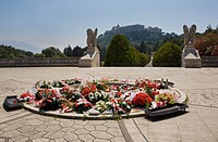 italy, wreaths of flowers at the polish cemetery by monte cassino monastery