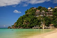 balabag, aklan, philippines, houses up on a cliff along the coast of boracay island