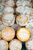 Beyos Cheese. Santillan market. Amieva council. Picos de Europa. Asturias. Spain.