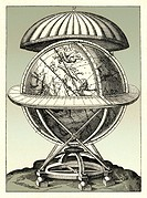 Tycho Brahe´s celestial sphere. Artwork from 1584 of the celestial sphere designed and built by the Danish astronomer Tycho Brahe 1546_1601. Brahe is ...