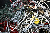 Tangled electrical cables.